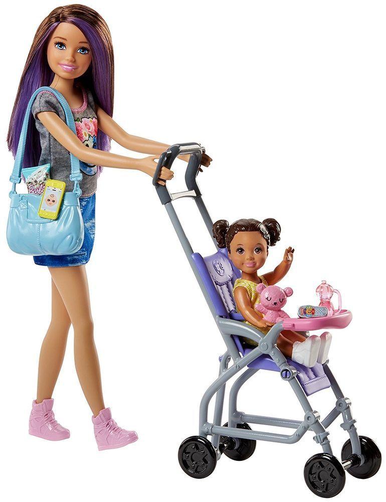 Mattel Barbie chůva herní set - panenka se šedým tričkem