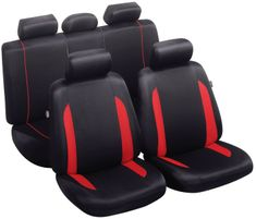 MAMMOOTH Potahy na sedadla Combloux, kombinace přední a zadní, materiál: polyester, barva: černo-červená