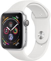 Apple Watch Series 4, 44mm, pouzdro ze stříbrného hliníku/bílý řemínek