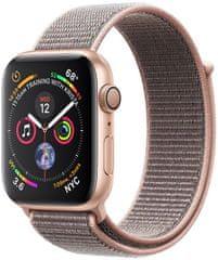Apple Watch Series 4, 40mm, pouzdro ze zlatého hliníku/pískově růžový provlékací řemínek