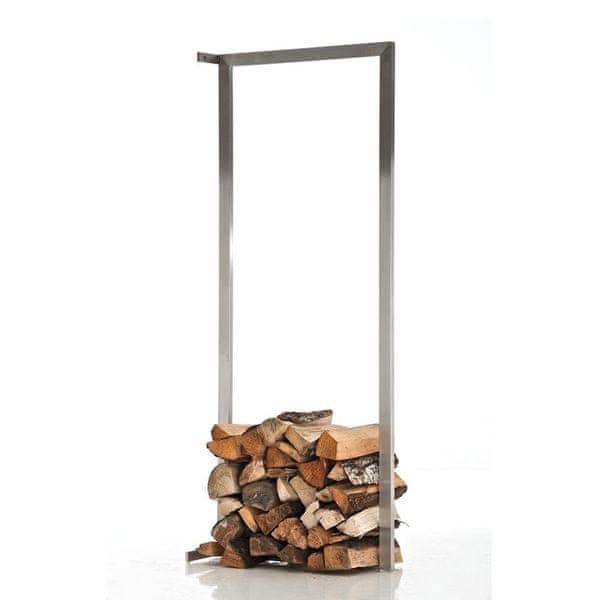 BHM Germany Stojan na dřevo nástěnný Muren, 60x150 cm, nerez