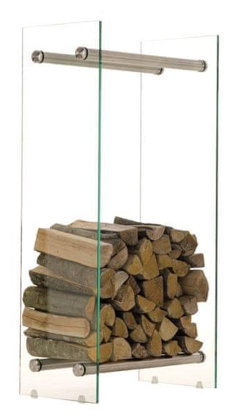 BHM Germany Stojan na dřevo Malin, 40x100 cm, čiré sklo