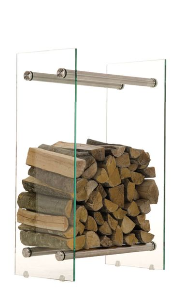 BHM Germany Stojan na dřevo Malin, 60x60 cm, čiré sklo