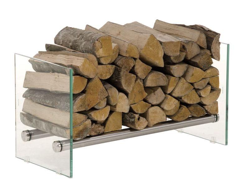 BHM Germany Stojan na dřevo Gunar, 75x40 cm, čiré sklo