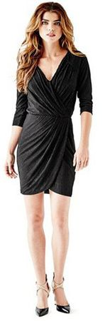 Guess Dámske šaty Three - Quarter Sleeve Metallic Wrap Dress (Veľkosť S)