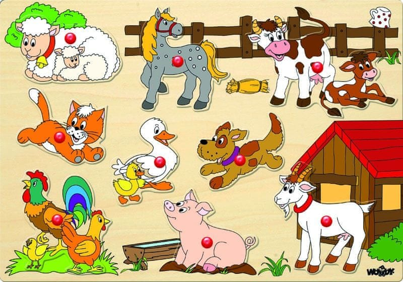 Woody Puzzle na desce - zvířata u statku
