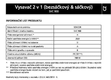 SENCOR bezsáčkový vysavač SVC 900-EUE3
