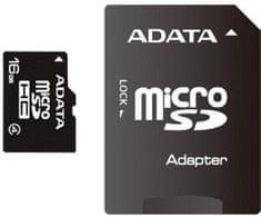 Adata Micro SDHC 16GB Class 4 + adaptér (AUSDH16GCL4-RA1)