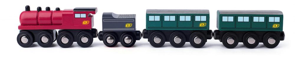 Woody Parní lokomotiva s uhlím a vagony