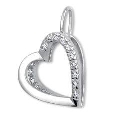Brilio Něžný přívěsek Srdce s krystaly 249 001 00493 07 - 1,10 g zlato bílé 585/1000