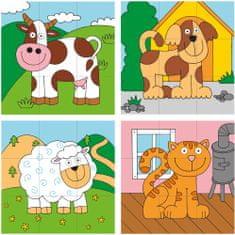 Woody kostka-układanka z tyczką - zwierzęta domowe
