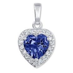 Brilio Silver Prekrásny prívesok Srdce 446 154 00176 04 - modrý - 1 89dbe971135