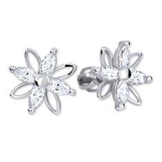 Brilio Květinové náušnice s krystaly 239 001 00920 07 - 2,55 g zlato bílé 585/1000