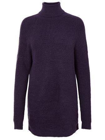 Vero Moda Dámske šaty Story Curve Ls Rollneck Dress Purple Velvet (Veľkosť M)