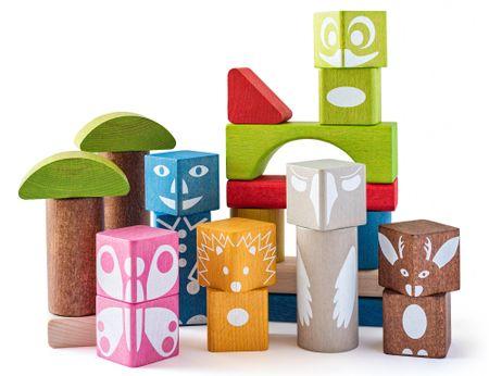 Woody barvne kocke s potiskom, 26 kosov
