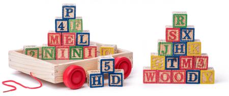 Woody voziček s kockami/ćrkami ABC