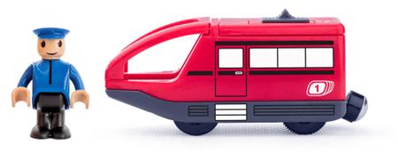 Woody Moderná elektrická mašinka - červená