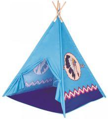 Bino TeePee- dětský stan modrý, 4 stěny