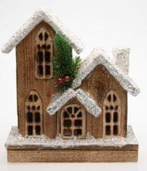 Seizis Domek dřevěný zasněžený hnědý s LED světly , 25cm