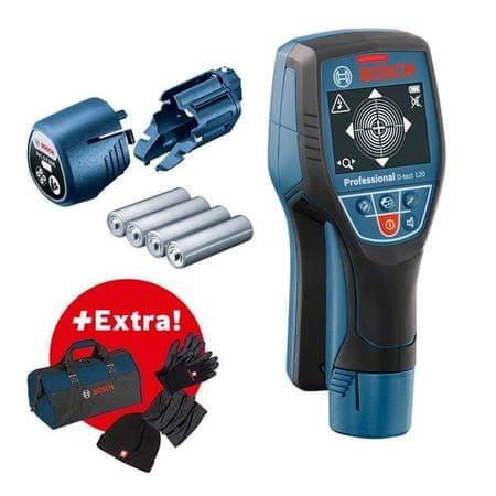 BOSCH Professional detektor D-tect 120 in adapter za baterije + komplet Comfort Plus, torba (06159940M4)