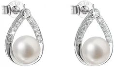 Evolution Group Stříbrné náušnice s pravými perlami 21033.1 stříbro 925/1000