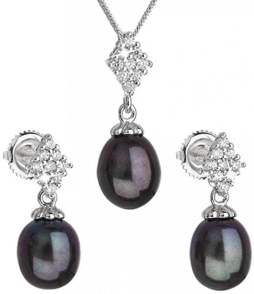 Evolution Group Luxusní stříbrná souprava s pravými tahiti perlami 29018.1 stříbro 925/1000