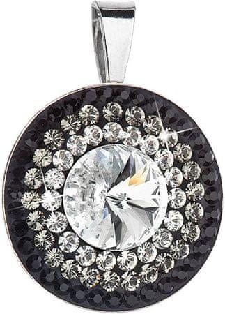 Evolution Group Piękny srebrny wisiorek 34207.3 kryształ + jet srebro 925/1000