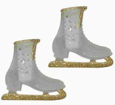 Seizis Dekorace závěsná brusle zlatá, ledová
