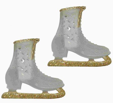 Seizis ozdoba świąteczna - wiszące łyżwy, złoto-lodowe