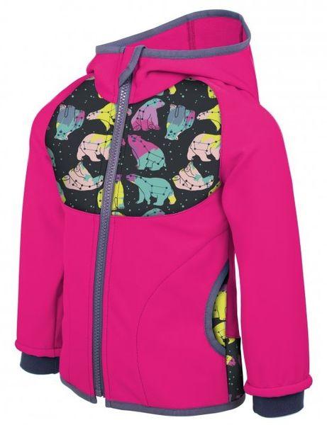 Unuo Dívčí softshellová bunda Souhvězdí medvěda 98/104 růžová