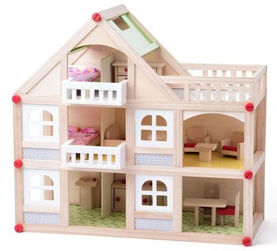 Woody domek dla lalek z balkonem