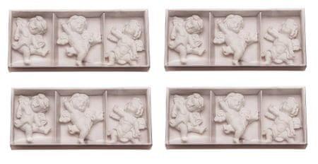 Seizis zestaw ozdób świątecznych - aniołki dekoracyjne, białe, 12 szt.
