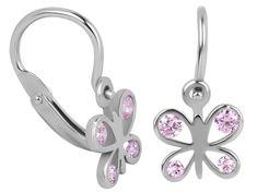 Brilio Dětské zlaté náušnice motýlci s růžovými krystaly 239 001 00293 07 - 0,80 g zlato bílé 585/1000