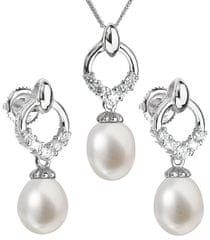 Evolution Group Luxusná strieborná súprava s pravými perlami 29015.1 striebro 925/1000