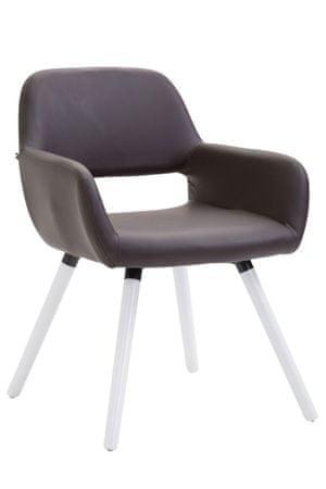 BHM Germany Jídelní židle Boba kůže, bílé nohy, hnědá