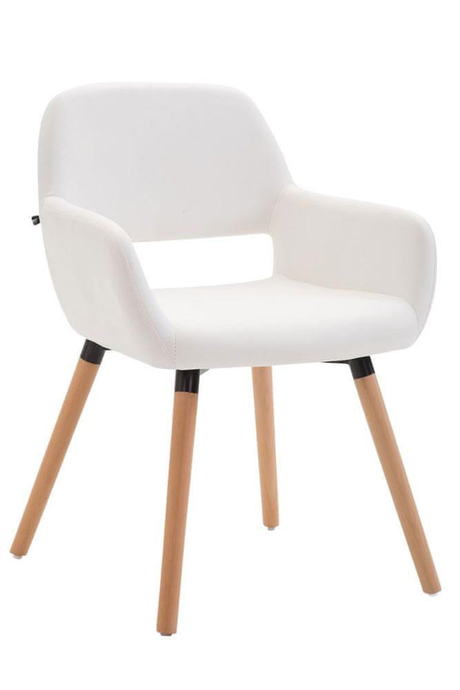 BHM Germany Jídelní židle Boba kůže, přírodní nohy, bílá