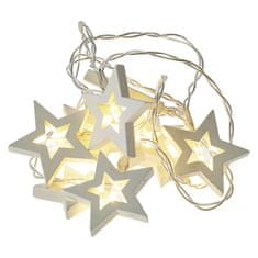 EMOS LED girlanda – hviezdy drevené, 2×AA, teplá biela, časovač