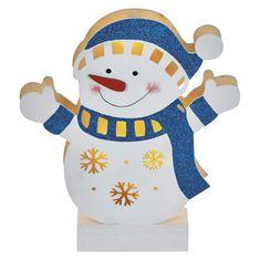 Emos LED sněhulák dřevěný, 26,5cm, 2×AA, teplá bílá, časovač