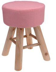 Mørtens Furniture Taburetka s dřevěnými nohami Limpa, 30 cm, růžová