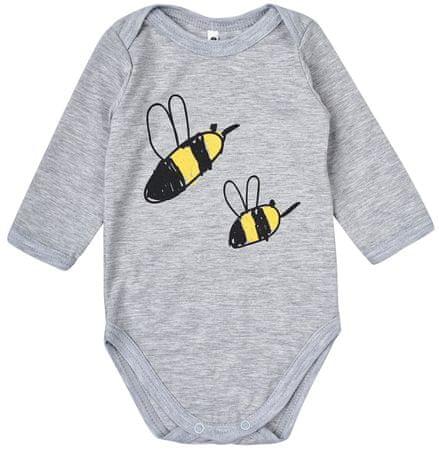 Garnamama dziecięce body z pszczółkami, 74, szare