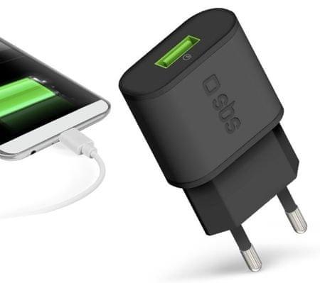 SBS Quick Charge 3.0 polnilec, 2100 mAh, 2.1A USB, EU