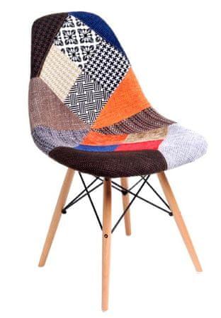 Mørtens Furniture Jídelní židle s dřevěnou podnoží Desire patchwork, barevná