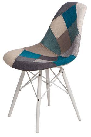 Mørtens Furniture Jídelní židle s bílou podnoží Desire patchwork, modrá