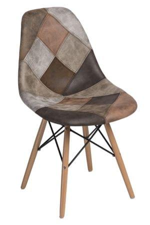 Mørtens Furniture Jídelní židle s dřevěnou podnoží Desire patchwork, béžová