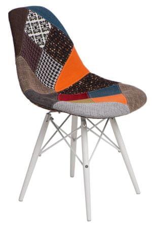 Mørtens Furniture Jídelní židle s bílou podnoží Desire patchwork, barevná