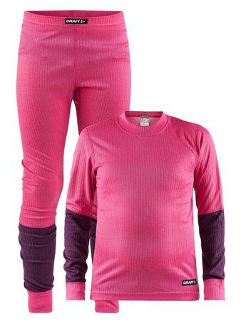 Craft dekliški športni komplet Baselayer, 74/80, roza