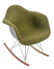 Mørtens Furniture Designové houpací křeslo Blom čalouněné, šedá/zelená