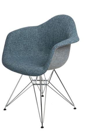 Mørtens Furniture Jídelní židle Blom čalouněná, šedá/modrá