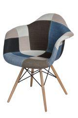 Mørtens Furniture Jídelní židle s dřevěnou podnoží Blom patchwork, modrá
