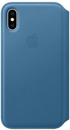 Apple ovitek Folio MRX02ZM/A za telefon iPhone XS, usnjen, modro siv